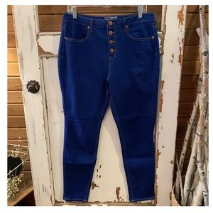 NoBo bright blue high rise skinny jeans